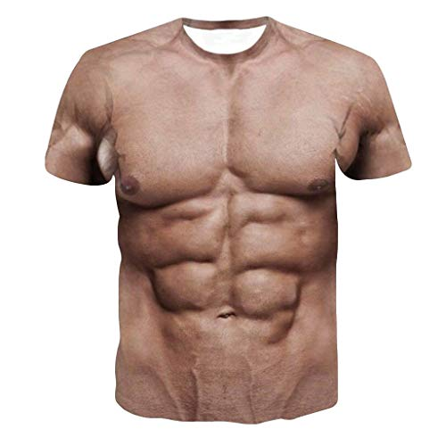 Men's 3D Printed Funny Muscle T-Shirt Short Sleeve Undershirt Tee Tops (XL, Khaki)