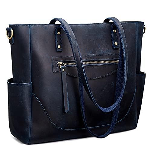 s zone shoulder bags S-ZONE Women Vintage Genuine Leather Tote Bag Large Shoulder Purse Work Handbag with Crossbody Strap