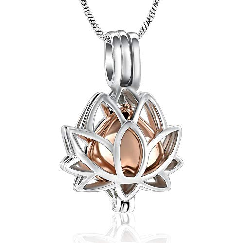 Necklace For Ashes Cremation Jewelry Urn Necklaces for Ashes for Women Stainless Steel Ashes Keepsake Lotus Flower Pendant Necklace ashes urns cremation keepsake memorial