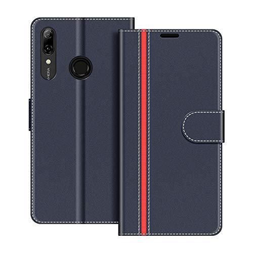 COODIO Handyhülle für Huawei P Smart 2019 6,21 Zoll Handy Hülle, Honor 10 Lite Hülle Leder Handytasche für Huawei P Smart 2019 / Honor 10 Lite Klapphülle Tasche, Dunkel Blau/Rot