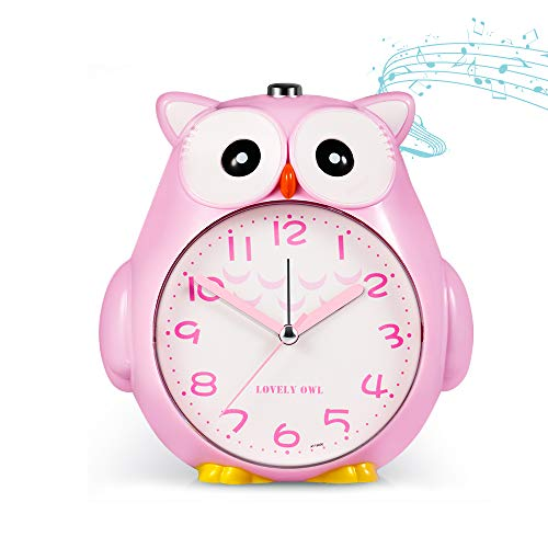Owl Alarm Clock for Kids with Night Light and Snooze Function for Girls Boys Battery Operated