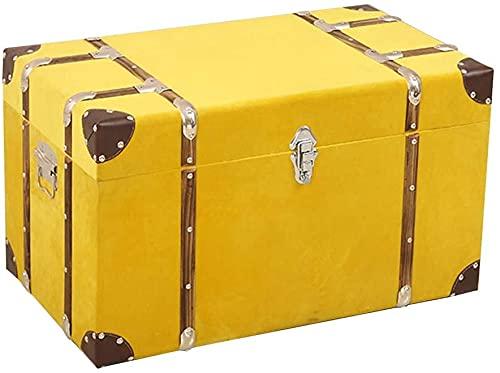 アンティーク スーツ ケース ストレージトランク、リベット、メタルハンドル、寝室、リビングルーム、フォトスタジオの小道具 (Color : Yellow, Size : 60x36x36cm)