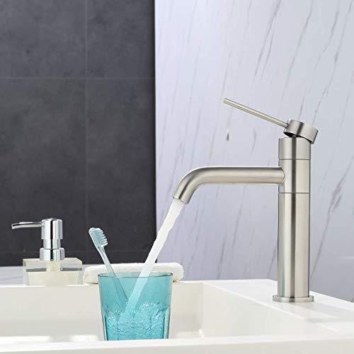 ubeegol 360° drehbar Wasserhahn Bad hoch Waschtischarmatur Edelstahl Waschbeckenarmatur Badarmatur Waschbecken Mischbatterie Waschtisch Armatur für Badzimmer, Matt