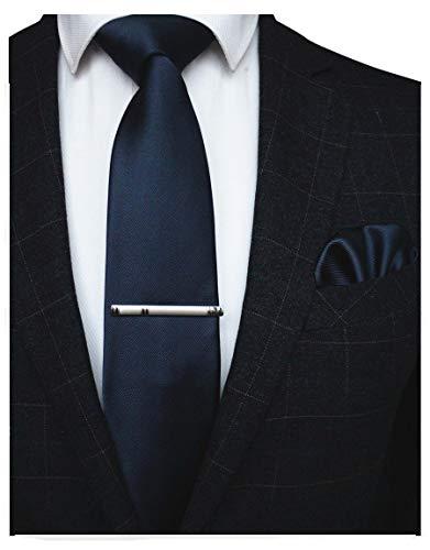 JEMYGINS Cravate Bleu marine Homme en Soie et Pinces à cravate Carre de poche Set(1)