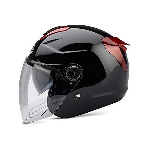 Boseman Erwachsener Motorradhelm mit Doppelvisier, Jet-Helm Chopper Cruiser Vintage Pilot Helmet, Bestehen Sie den Kollisionstest, um die Verkehrssicherheit zu Gewährleisten(Schwarz)