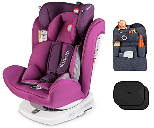 Lionelo Bastiaan - Asiento infantil para coche (grupo 0+ 1 2 3 (0-36 kg), ISOFIX 360°, certificado TÜV SÜD, ECE R 44/04) morado Violeta + Set