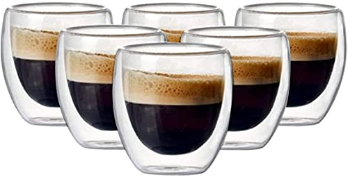 Set di 6/12 Tazzine da caffè in Vetro Isolante a Doppia Parete da 80 ml per Bere Tazza di caffè, Latte, tazzina da Espresso o Tazza. (Set Of 6 Pcs)