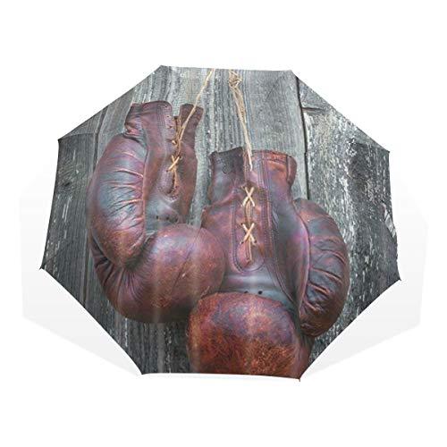 LASINSU Regenschirm,Alte Boxhandschuhe, die an der hölzernen Wand hängen,Faltbar Kompakt Sonnenschirm UV-Schutz Winddicht Regenschirm