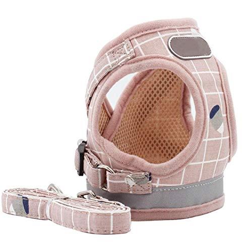 fedsjuihyg Arnés Pequeño Perro Juegos De Cables Perrito del Chaleco Arneses No Tire Ajustable Reflectante para Mascotas Pequeña Mediana Rosa XS Cómodo No Apriete