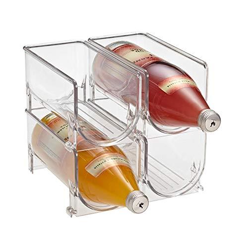 N\A Soporte para botellas de vino, transparente, para frigorífico, organizador de almacenamiento para encimeras, decoración universal para botellas de vino (color: 4 piezas)