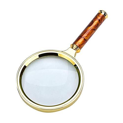 ZJN-JN 拡大鏡 ルーペ 80ミリメートル色のハンドルオールド・マン10倍ズーム読書拡大鏡ガラスの高倍率ジュエリージェイド識別光学レンズ 読み物に便利