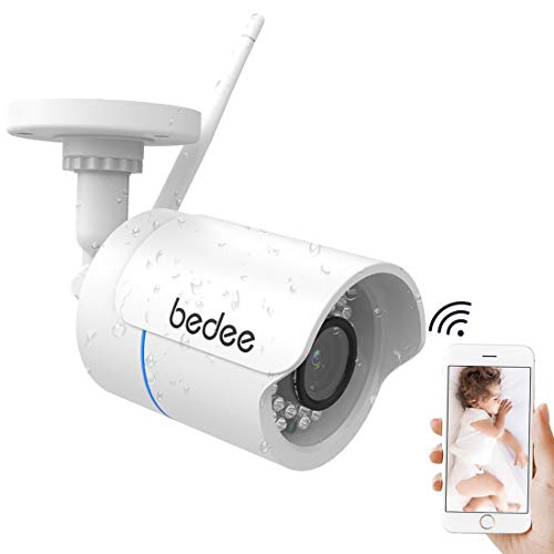 bedee WLAN IP Kamera 1080P HD Überwachungskamera Sicherheitskamera Unterstützt Handy/PC Fernbedienung IR Nachtsicht Bewegungserkennung Email FTP 128G Aufnahme 3M Stecker Wasserdicht für Innen/Außen