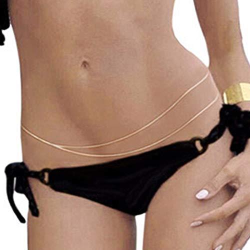 Mayelia Cadena para el cuerpo Boho de oro para la cintura de bikini, cadena de fiesta, joyería para el vientre, accesorios para el cuerpo, joyería para mujeres y niñas