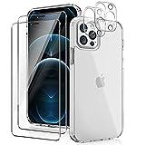 YIRSUR Kompatibel mit iPhone 12 Pro Max, mit 2 Panzerglas & 2 Kamera Schutzfolie, Transparent Hard PC & TPU Silikon Starke Stoßfestigkeit Hülle (Clear)
