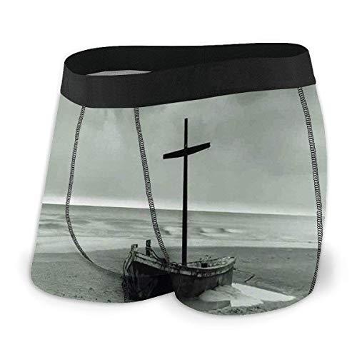 Web--ster Calzoncillos bóxer para Hombre, naufragio pequeño Bote varado en el mar Nubes de Nieve Día ventoso Ola Imagen tamaño XL
