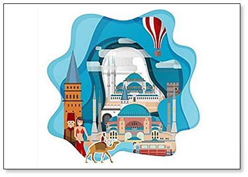 Imán clásico para nevera con ilustración abstracta de Estambul, Turquía