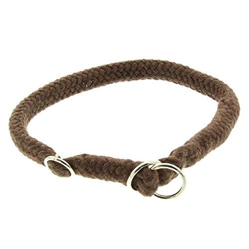 Dinoleine Hunde-Halsband/Stoppwürger, Größenverstellbar, Natürliche Baumwolle, Größe: S/ 45 cm, Braun, 111003