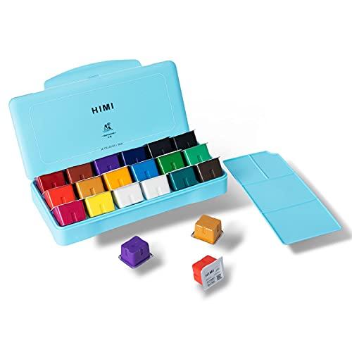 MIYA HIMI Conjunto de tinta de guache 18 cores (30 ml/pc) Conjunto de tintas exclusivas para copos de gelatina, tintas não tóxicas para artistas, pintores de hobby e crianças, ideal para pintura em tela para presente novidade, Azul, 1