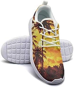 Hobart dfgrwe Neon Palm Trees Women Flat Bottom Low Help Walking Shoes
