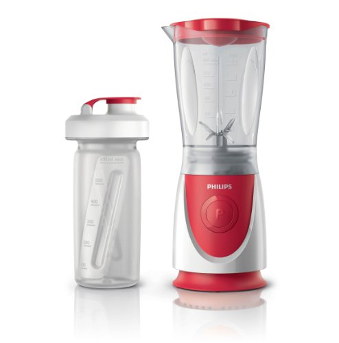 Philips Daily HR2872/00 - Batidora Americana de Vaso, 350 W, Jarra 0.6 L, Plástico Ultra Resistente, Vaso On the go, Color Rojo