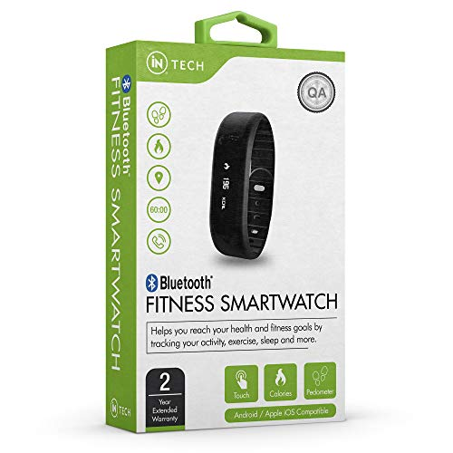 iN TECH - Bluetooth Smart Fitness Watch Bracelet Wristband Monitors Health, Pedometer, Calories Burned, Distance, Sleep, Touch Screen Display, Compatible Pairing with iOs and Android 2 Year Warranty