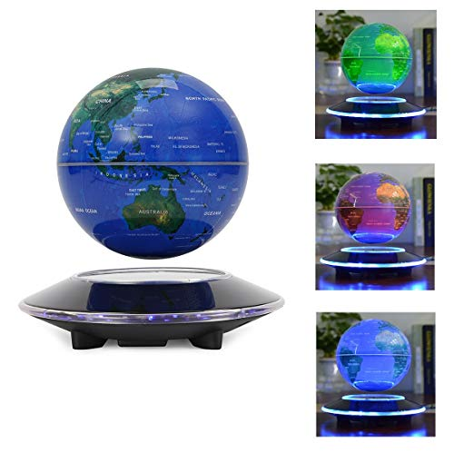"""WUPYI 6"""" Magnetic Levitation Floating Globe Anti Gravity Rotating World Map with LED Light 7 Colors Display Floating Globe for Children Educational Gift Home Office Desk Decoration (Colorful Light)"""