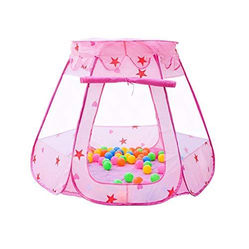 HBIAO Corral Bebe, Carpa de Seguridad para los niños Juego de Dibujos Animados Juego de plástico Juego de Pelota de mar Barandilla para bebés y niños pequeños,Pink