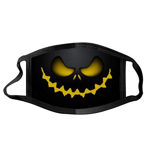 Btruely Halloween Maske Mundschutz Waschbar Baumwolle Staubdichte Multifunktionstuch mit Kürbis Motiv Atmungsaktiv Lustige Motorrad Halstuch