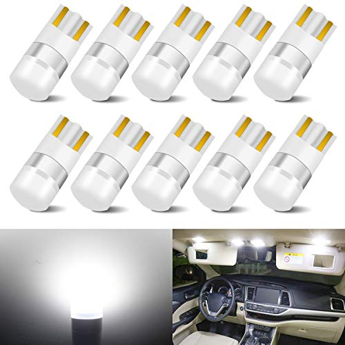 194 LED Bulbs White 168 LED Bulb T10 LED Bulbs W5W LED Wedge Light Bulb 194 Bulb 921 2825 158 192 W5W LED Replacement Bulb for Dome Map Door Courtesy Side Marker Trunk License Plate Lights, Pack of 10