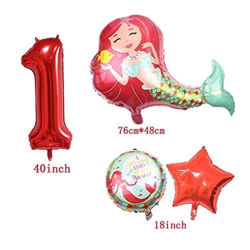 XIAOZSM Globos Globos de lámina de sirpea púrpura roja con número de dígitos de 40 Pulgadas Helio Globo Dibujos Animados Globos Decoraciones de Fiesta de cumpleaños niños o Adultos ( Farbe : Red 5 )