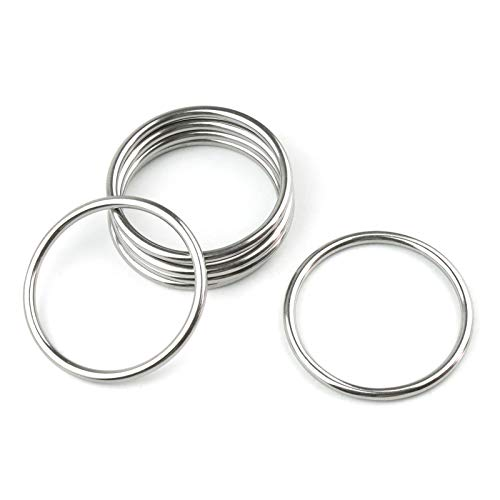 Hamineler 6PCS 4mm × 50mm ID Stainless Steel Seamless Welding O Ring Welded Round Rings Hardware for Belts Hardware Handbags DIY Accessories