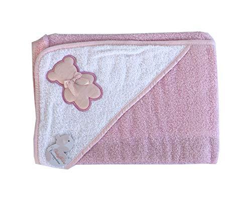 I BATUFFOLINI Accappatoio Baby Triangolo Ricamato per Neonati più Borsetta in Cotone 100% Mis. 70x70cm (Rosa, 0-36 Mesi)