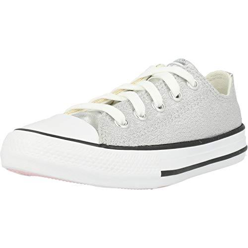 Converse Chuck Taylor All Star Metallic Ox Plateado/Dorado Tela Adolescentes Entrenadores Zapatos
