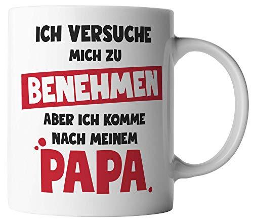 vanVerden Tasse - Versuche mich zu benehmen, aber komme nach meinem Papa - Tassen für Vatertag Spruch Vater - beidseitig Bedruckt - Geschenk Idee Kaffeetassen, Tassenfarbe:Rot