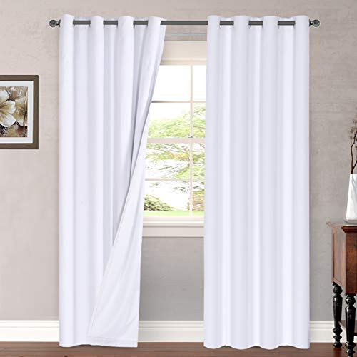 Linen Blackout Curtains 108 Inches Long 100% Total Blackout Heavy-Duty Draperies for Bedroom Living Room Thermal Insulated Textured Functional Window Treatment Anti Rust Grommet (White, 2 Panels)