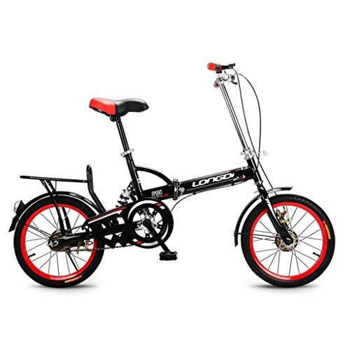 Kinderen fiets jongens fiets, Children's Bicycle 16 Inch Kid Bike High Carbon Steel Vouwfiets 4-7 jaar oude mannen en vrouwen Single Speed Schokdbreker Fiets, Zwart/blauw/roze/groen Children's