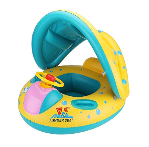 Vercrown Inflatable Baby Pool Float Swimming Ring Baby Seat Boat Yacht with Sunshade and Air Pump...