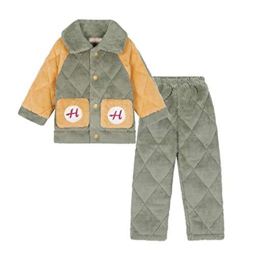 YWSZJ New Kids Boys Otoño Invierno Flannel Cálido Pijama Imprimir Lapel Tops con Pantalones Conjuntos de Ropa para Dormir (Size : 150cm)