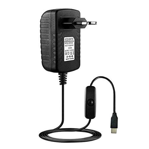 KoelrMsd 5V 3A Tipo-C USB AC / DC Adaptador de Cargador de Pared Cable de Fuente de alimentación para Raspberry Pi 4 Modelo B Adaptador de Enchufe con Interruptor