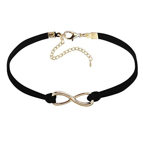 KnSam Gargntilla Acero Inoxidable Mujer, Choker Necklace Collar Terciopelo Tatuaje Wave Crochet Elegante Oro Negro