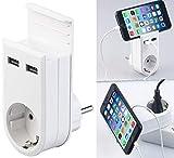 revolt USB Ladestecker: Steckdose mit Doppel-USB-Netzteil & Smartphone-Ablage