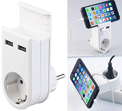 revolt Wandladegerät: Steckdose mit Doppel-USB-Netzteil & Smartphone-Ablage, 3,4 A/ 17 Watt (Steckerladegerät)
