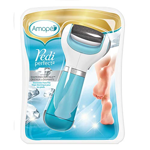 Amope Pedi Perfect Electronic Dry Foot File, Dual-Speed Callus Remover (with Diamond Crystals) for Feet (Regular Coarse - Blue). Perfect for In-home Pedicure for Baby Smooth Feet. Battery Operated.