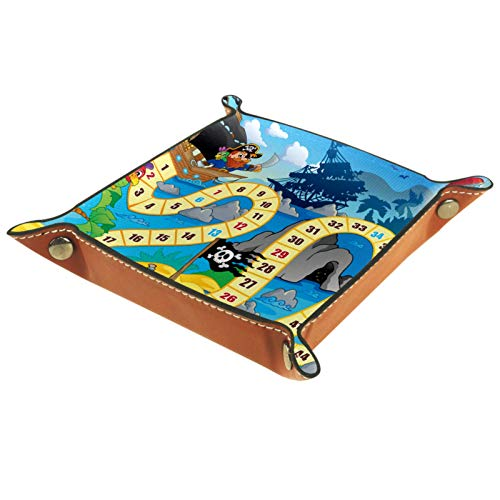 LynnsGraceland Tablett Leder,Brettspiel Pirate Lighthouse,Leder Münzen Tablettschlüssel für Schmuck,Telefon,Uhren,Süßigkeiten,Catchall-Tablett für Männer & Frauen Großes Geschenk