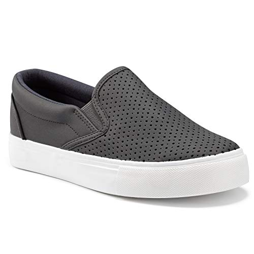jenn-ardor Women's Slip On Sneakers Perforated/Quilted Casual Shoes Fashion Comfortable Walking Flats Black 6 US