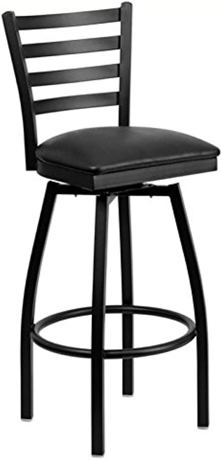 Bowery Hill 32  Swivel Metal Bar Stool in Black