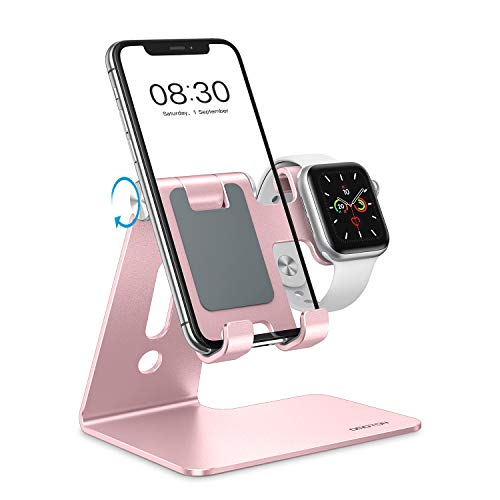 OMOTON Apple Watch Charging Stand - 2 in 1 Adjustable Aluminum Phone Stand Holder Dock for Apple Watch SE/7/6/5/4/3/2/1, Apple Watch Charger Stand for iPhone 13/12 Pro Max/Pro/Mini/11, Rose Gold
