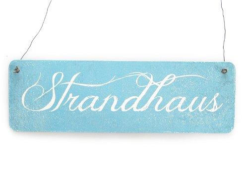 Interluxe Vintage Shabby Schild Dekoschild Türschild STRANDHAUS *[BLAU]* Ferienwohnung Holzschild Strand Meer Urlaub