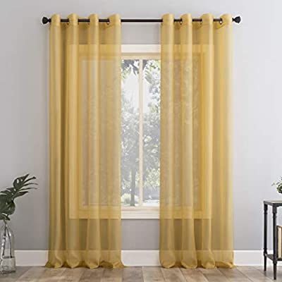 """No. 918 Emily Voile Sheer Grommet Curtain Panel, 59"""" x 84"""", Curry Yellow"""