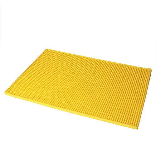 Silikon Abtropfmatte Dicke Multifunktional Silikon Schrubber für Arbeitsplatte Hitzebeständig Abtropfmatte für Küche Bar Spüle Pad 45 * 30cm gelb